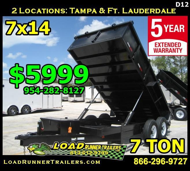 *D12* 7x14 Twin Piston Dump Trailer 7 TON 7 x 14 | D82-14T7-24S