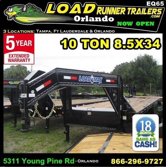 *EQG65* 8.5x34 10 TON Gooseneck Equipment Hauler Trailer |LR Trailers 8.5 x 34 | EQG102-34TT7-DOF/KR