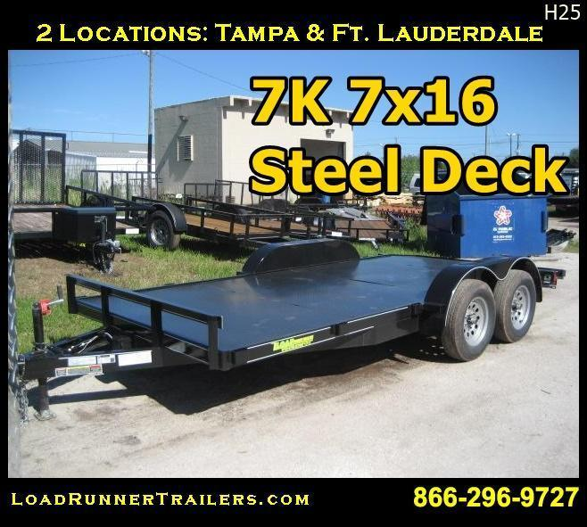 7x16 Car Hauler | 7K w/ Steel Deck & Electric Brakes |LR Trailers |H25