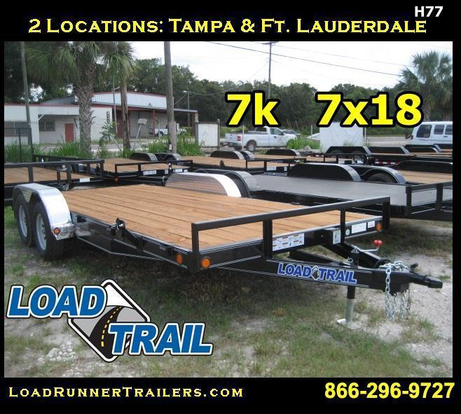 7x18 CAR HAULER Trailer | Removable Alum Fenders & Elec Brakes| H77