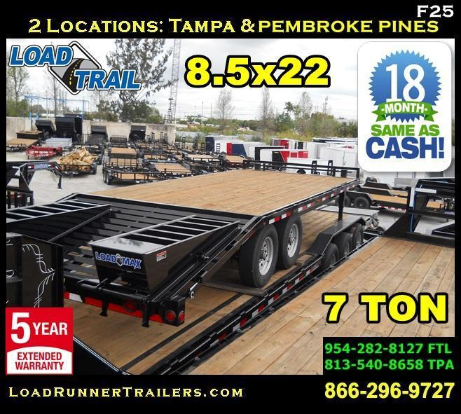*F25* 8.5x22 7 TON Flatbed Deck Over Trailer w/ Multipurpose Dove 8.5 x 22   FP102-22T7-MPD