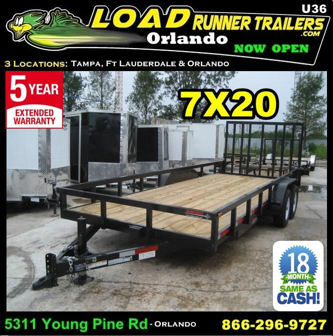 *U36* 7X20 Utility Trailer|HEAVY DUTY Tandem 5200# Axles w/Ramp 7 x 20 | U84-20T5-2B-TR