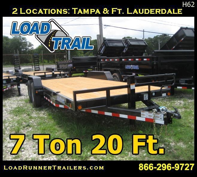 *H62* 7x20 Car Hauler Hauler Trailer Pipe Rail Trailers 7 x 20 | CH83-20T7