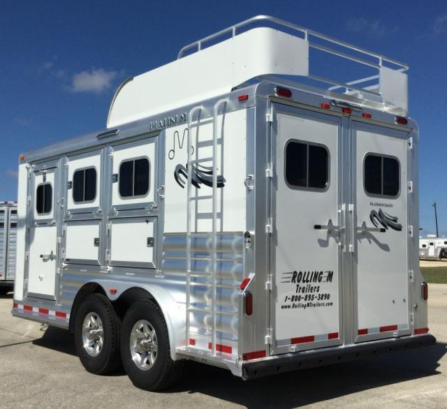 2018 Platinum Coach 3 HORSE BP MANGERS Horse Trailer