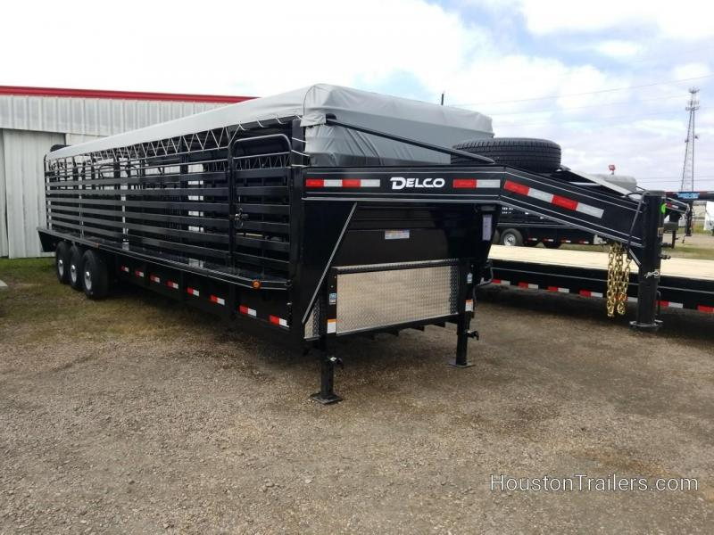 2019 Delco Trailers 32' Bar Top with Rubber Floor Livestock DEL-49