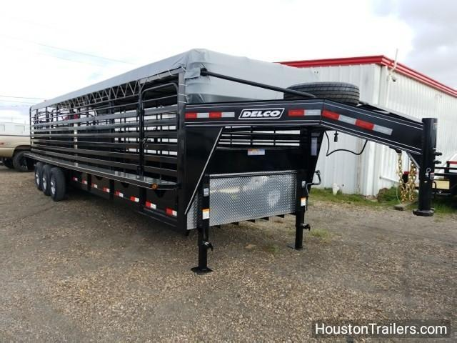 "2018 Delco Trailers 32' x 6'8"" Bar Top Livestock Trailer DEL-28"