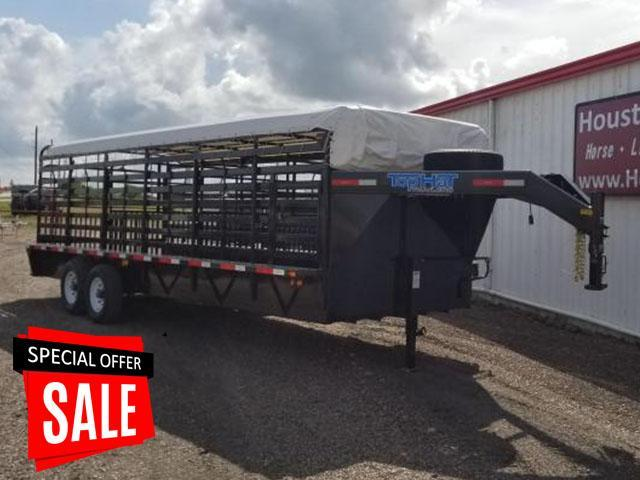 2017 Top Hat Trailers Brahma 24' x 7' Rubber Floor Livestock Trailer TH-65