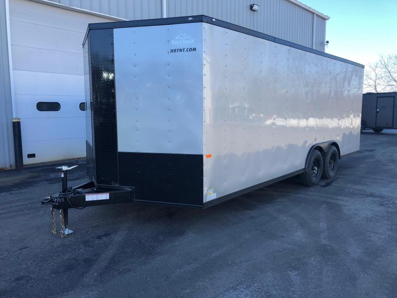 ROCK SOLID 2019 8.5 x 20 Tandem Axle Enclosed Silver W/ BLKOUT PACKAGE V-NOSE Trailer with Triple Tubed Tongue