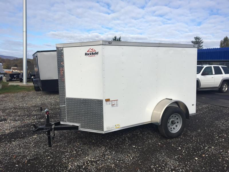 ROCK SOLID 2018 5' x 8' SINGLE AXLE WHITE ENCLOSED TRAILER