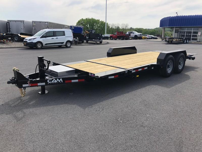 CAM 2019 7-TON 8.5' X 19' SPLIT TILT LOW PROFILE EXTRA WIDE EQUIPMENT TRAILER