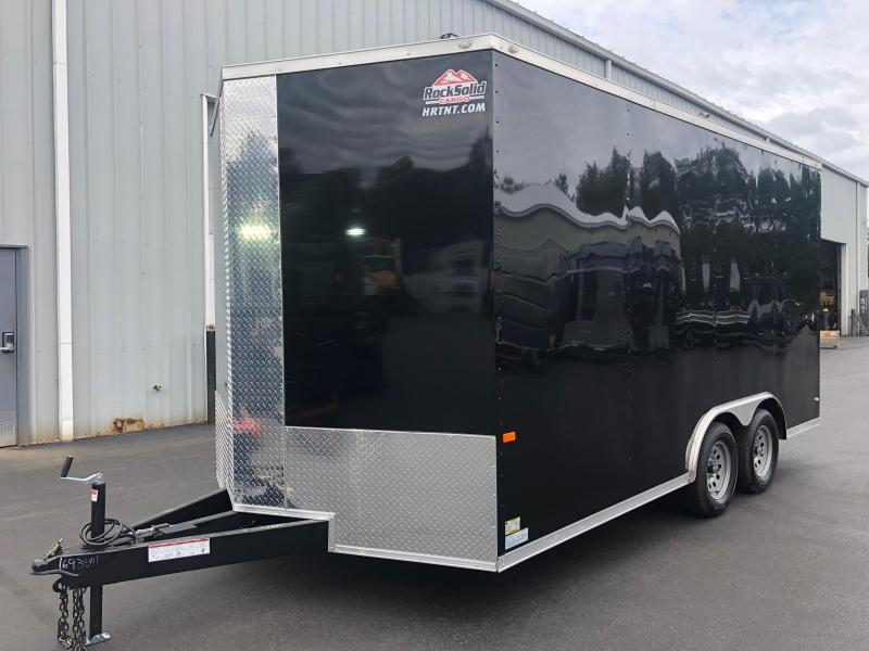 ROCK SOLID 2020 8.5' x 16' CH TANDEM AXLE BLACK V-NOSE ENCLOSED CARGO TRAILER