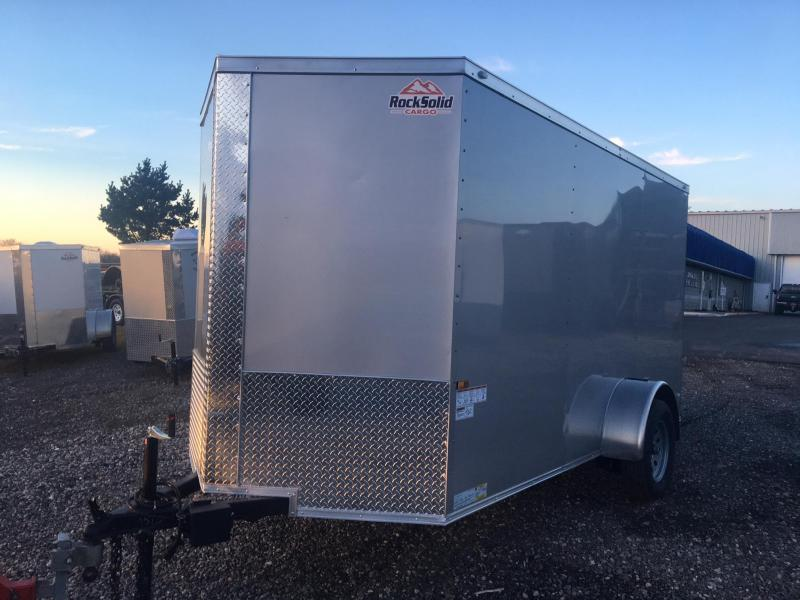 ROCK SOLID 2018 6' x 12' SILVER SINGLE AXLE V-NOSE ENCLOSED TRAILER