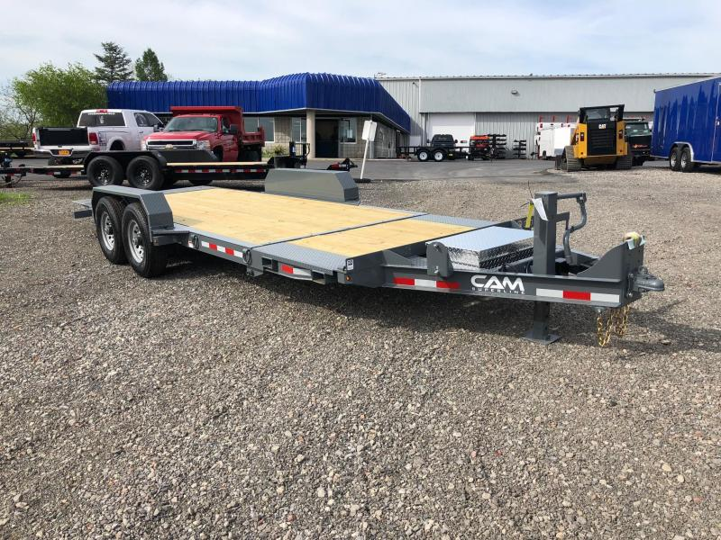 CAM 2018 GREY 7-TON SPLIT DECK TILT LOW PROFILE EXTRA WIDE 7-TON UTILITY TRAILER