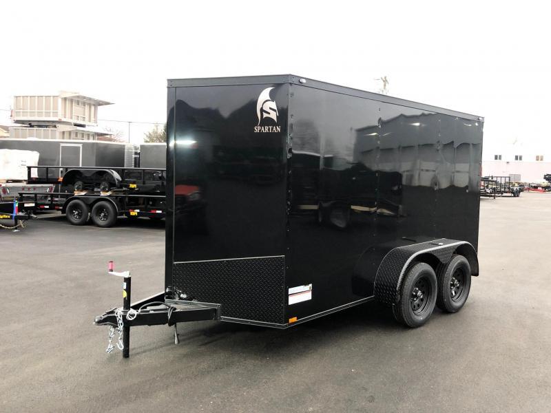 SPARTAN CARGO 2019 6X12 TANDEM AXLE BLACK WITH BLACK TRIM SEMI SCREWLESS ENCLOSED TRAILER