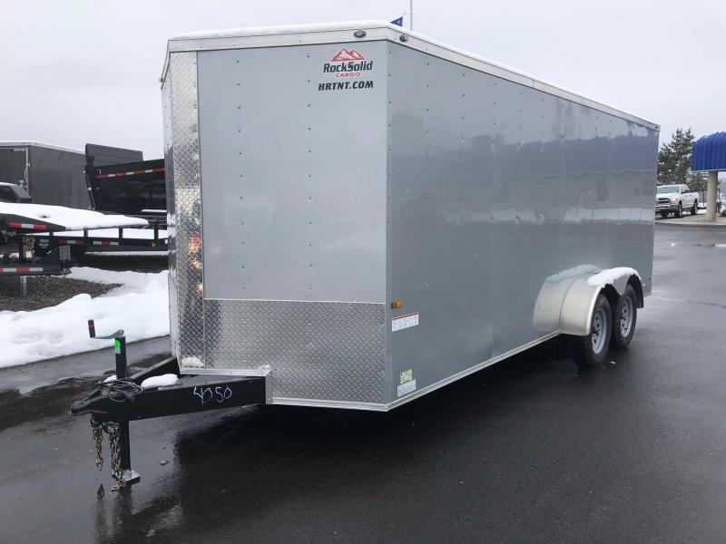 ROCK SOLID 2018 7' x 18 TANDEM AXLE SILVER V-NOSE CARGO TRAILER