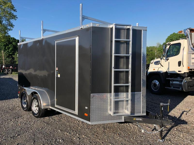 COVERED WAGON 2018 GRAY SEMI-SCREWLESS 7 x 14 TANDEM AXLE ENCLOSED CARGO TRAILER WITH LADDER RACKS