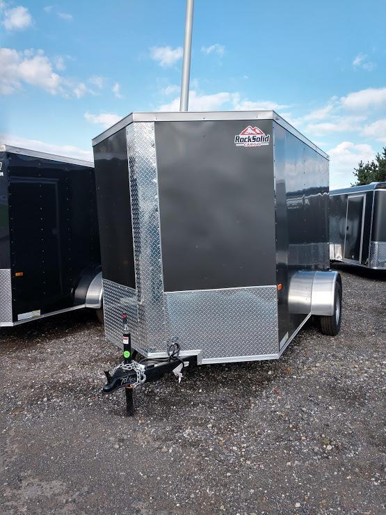 ROCK SOLID 2019 6' x 10' SINGLE AXLE SEMI-SCREWLESS CHARCOAL GRAY ENCLOSED TRAILER