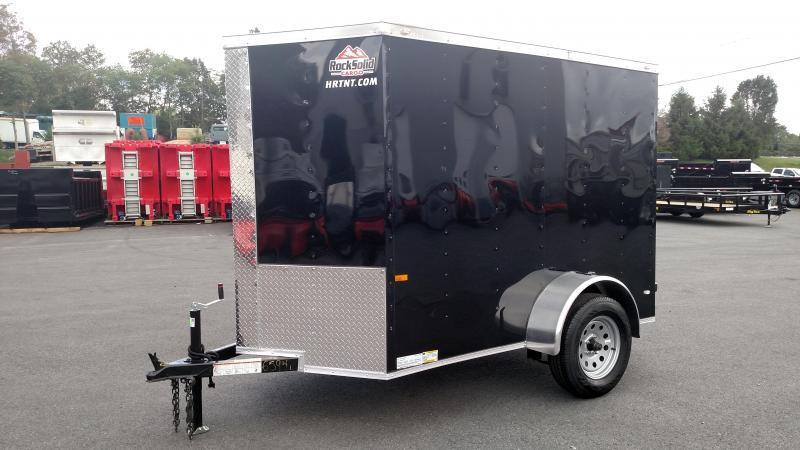 "ROCK SOLID 2020 5' x 8' SINGLE AXLE BLACK ENCLOSED TRAILER with 12"" ADDITIONAL HEIGHT"