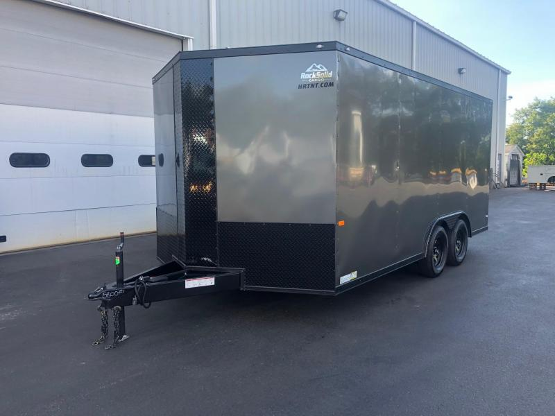 ROCK SOLID 2020 8.5' x 16' CH TANDEM AXLE CHARCOAL WITH BLACKOUT V-NOSE CARGO ENCLOSED TRAILER