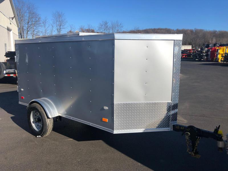 COVERED WAGON 2019 SILVER 4' x 8' SINGLE AXLE ENCLOSED CARGO TRAILER