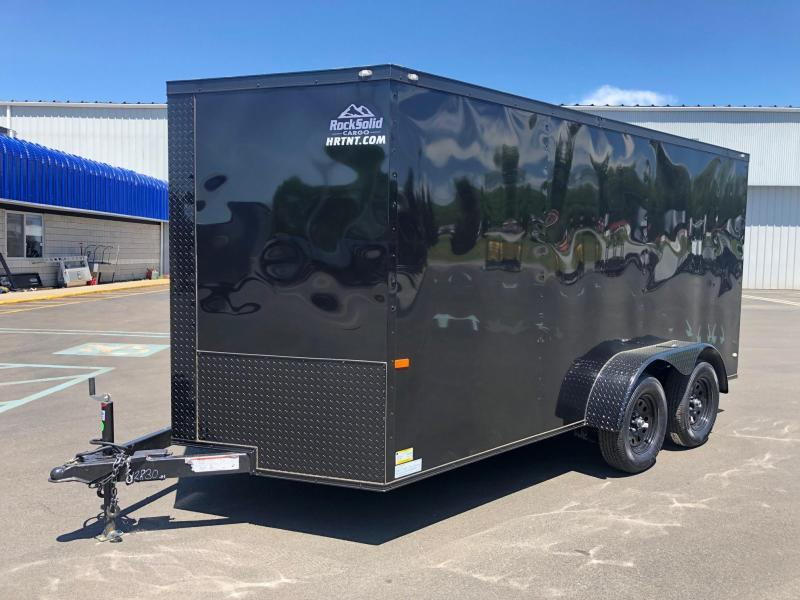 ROCK SOLID 2019 7' x 14 BLACK W/ BLKOUT SEMI-SCREWLESS TANDEM AXLE V-NOSE ENCLOSED TRAILER