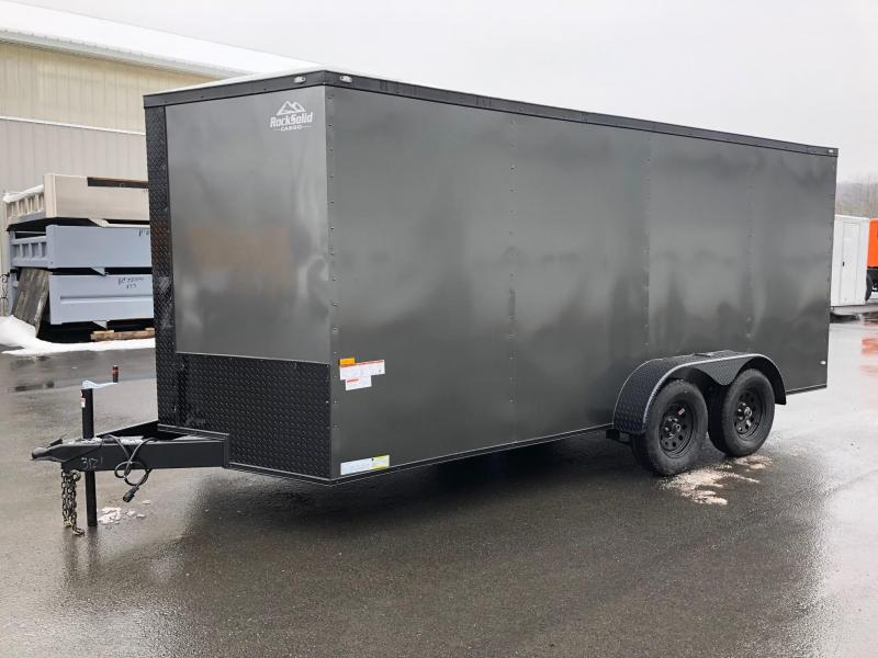 ROCK SOLID 2018 7' x 16' CHARCOAL GRAY w/ BLACK ROCK SOLID PACKAGE TANDEM AXLE V-NOSE ENCLOSED TRAILER