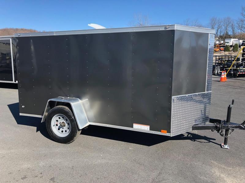DIAMOND CARGO 2018 5' x 10' SINGLE AXLE GRAY ENCLOSED VNOSE TRAILER