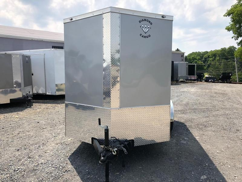 DIAMOND CARGO 2018 6' x 12' TANDEM AXLE  SEMI-SCREWLESS SILVER FROST ENCLOSED TRAILER