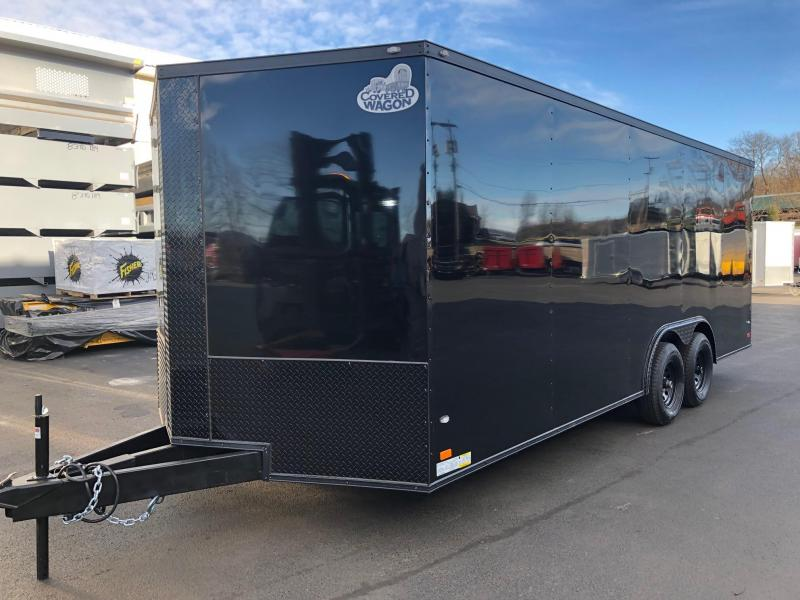 "COVERED WAGON 2019 8.5 X 20 BLACK with BLACK GOLD PACKAGE SEMI-SCREWLESS ENCLOSED CARGO TRAILER AND CAR HAULER WITH 60"" TRIPLE TUBE TONGUE"