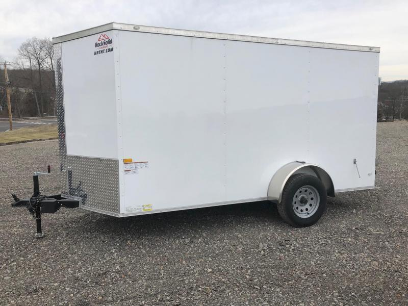 ROCK SOLID 2019 6' x 12' WHITE SINGLE AXLE SEMI-SCREWLESS V-NOSE ENCLOSED TRAILER