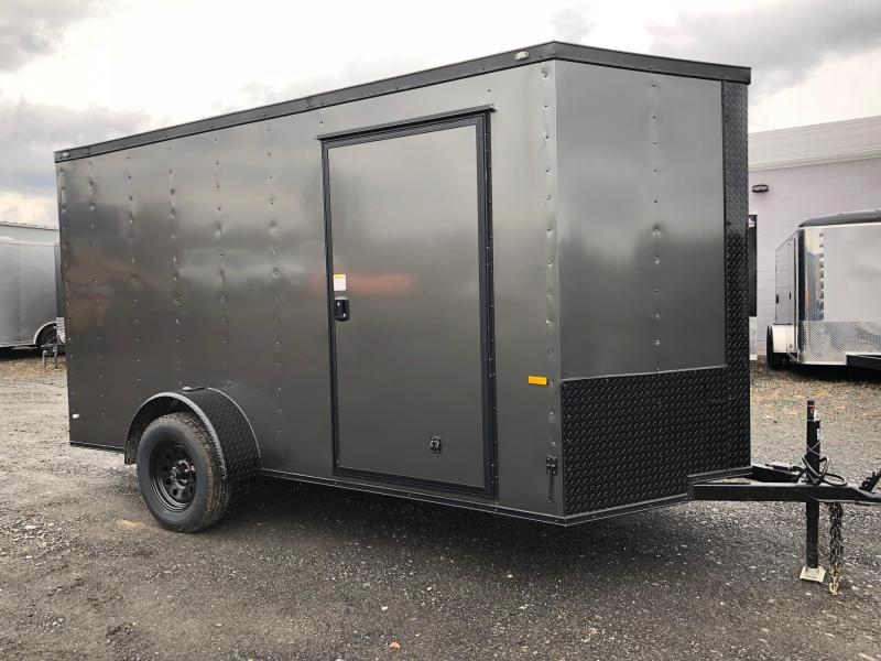 ROCK SOLID 2018 6' x 12' CHARCOAL GRAY W/BLACK PACKAGE SINGLE AXLE V-NOSE ENCLOSED TRAILER