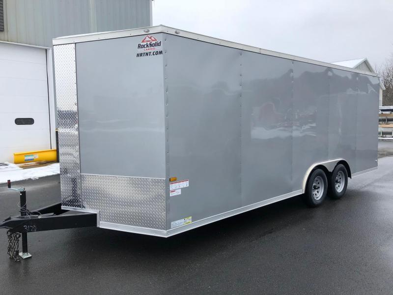ROCK SOLID 8.5 x 20 Tandem Axle Enclosed Silver V-NOSE Trailer