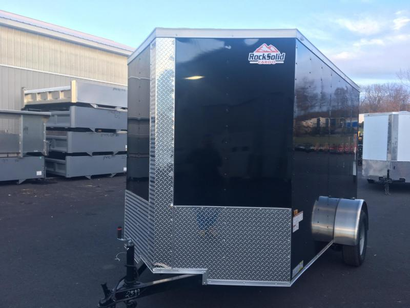 ROCK SOLID 2018 6' x 10' SINGLE AXLE BLACK ENCLOSED TRAILER