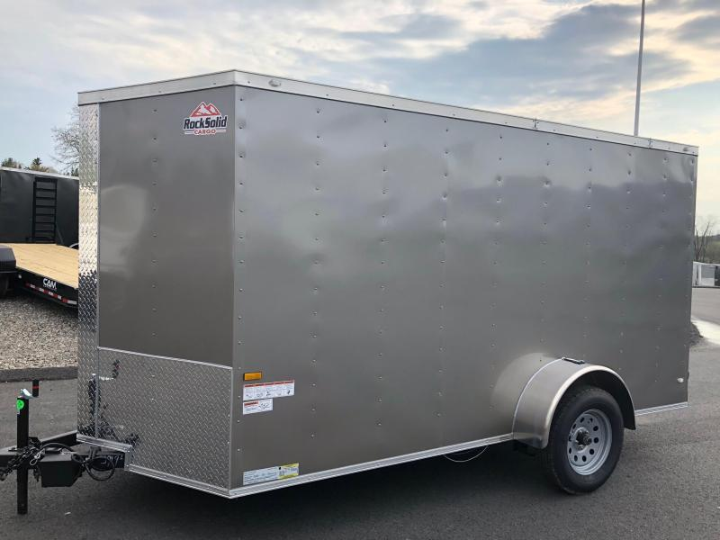 ROCK SOLID 2019 6' x 12' PEWTER SINGLE AXLE V-NOSE ENCLOSED TRAILER