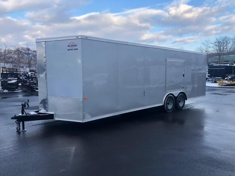 ROCK SOLID 2019 8.5' x 24' TANDEM AXLE SILVER SEMI-SCREWLESS  ACCESS DOOR OVER D/S FENDER V-NOSE CARGO TRAILER