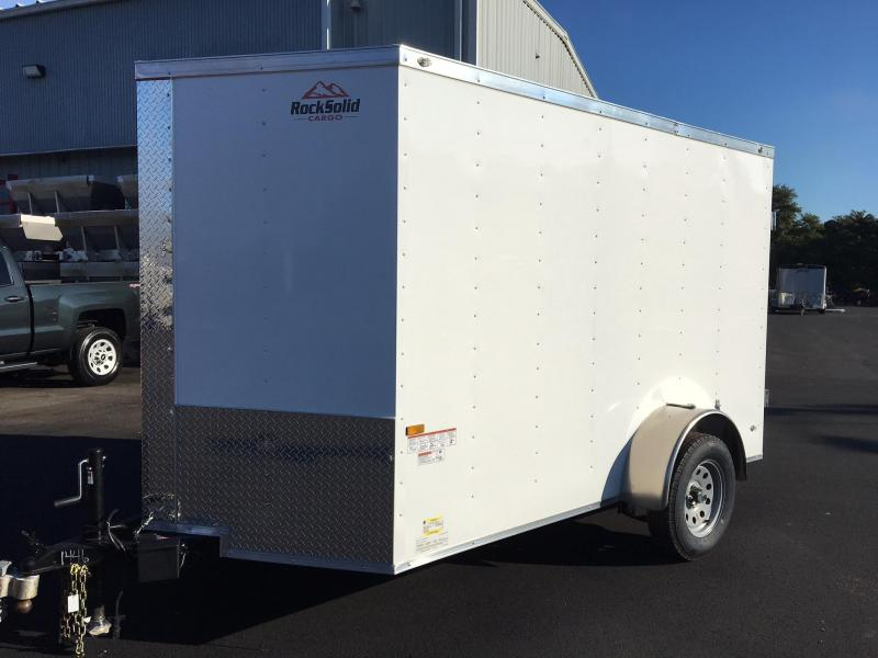 ROCK SOLID 2019 6' x 10' SINGLE AXLE WHITE ENCLOSED TRAILER