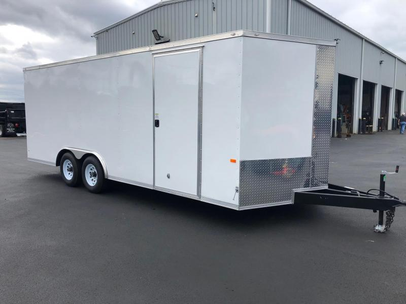 ROCK SOLID 2019 8.5 x 20 Tandem Axle White Semi Screwless Cargo / Enclosed V-NOSE Trailer w/ Triple Tube Extended Tongue and Escape Door