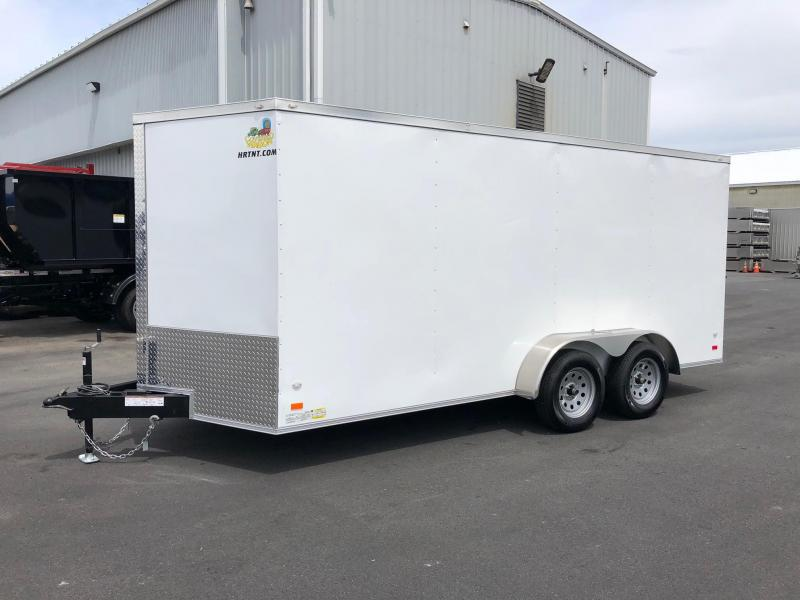 COVERED WAGON 2018 7x16 WHITE TANDEM AXLE SEMI-SCREWLESS ENCLOSED V-NOSE CARGO TRAILER