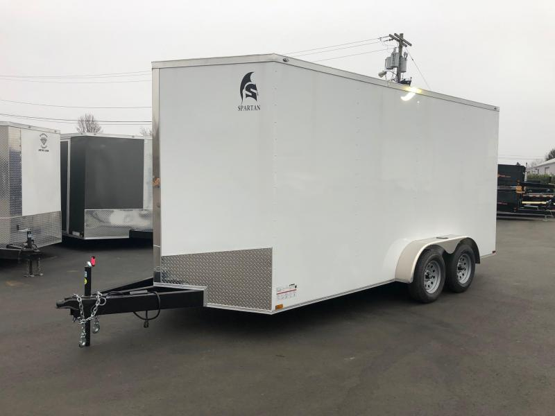 SPARTAN CARGO 2019 7X16 TANDEM AXLE WHITE SEMI SCREWLESS ENCLOSED TRAILER