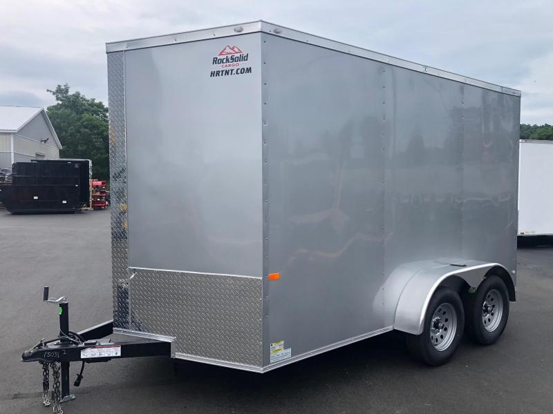 ROCK SOLID 2020 7' x 12'  SILVER SEMI-SCREWLESS TANDEM AXLE V-NOSE ENCLOSED TRAILER