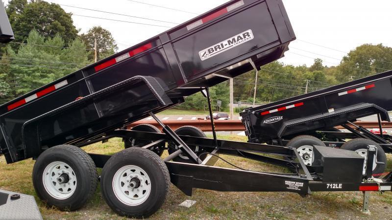 BRI-MAR 2019 7' x 12' LOW PROFILE BLACK DUMP TRAILER WITH TARP