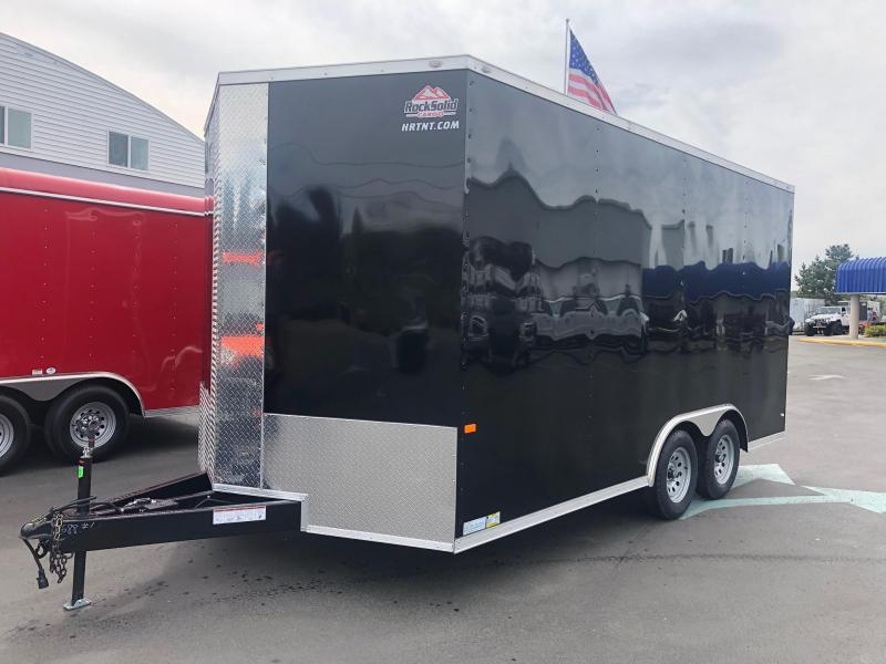 ROCK SOLID 2019 8.5' x 16' CH TANDEM AXLE BLACK SEMI SCREWLESS V-NOSE CARGO TRAILER/ CAR HAULER