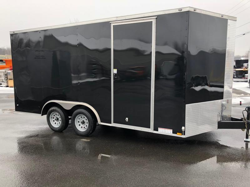 "DIAMOND CARGO 2018 8' x 16' BLACK TANDEM AXLE V-NOSE CARGO TRAILER w/ 6"" EXTRA HEIGHT"