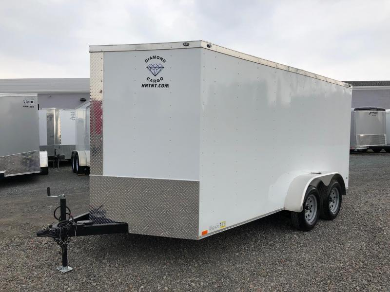 DIAMOND CARGO 2018 7 x 14 TANDEM AXLE WHITE V-NOSE ENCLOSED TRAILER
