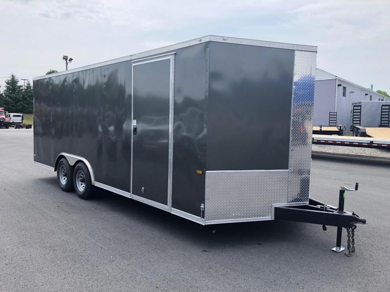ROCK SOLID 2019  8.5 x 20 Tandem Axle Charcoal Semi Screwless Enclosed V-NOSE Trailer with TRIPLE TUBE TONGUE EXTENDED