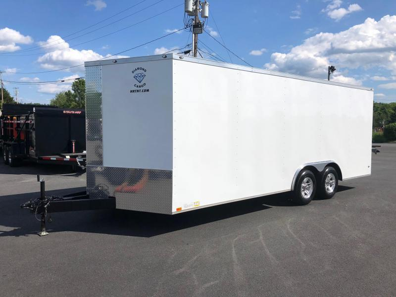 DIAMOND CARGO 2019 8.5' x 20' WHITE SEMI-SCREWLESS EXTENDED TONGUE V-NOSE TRAILER