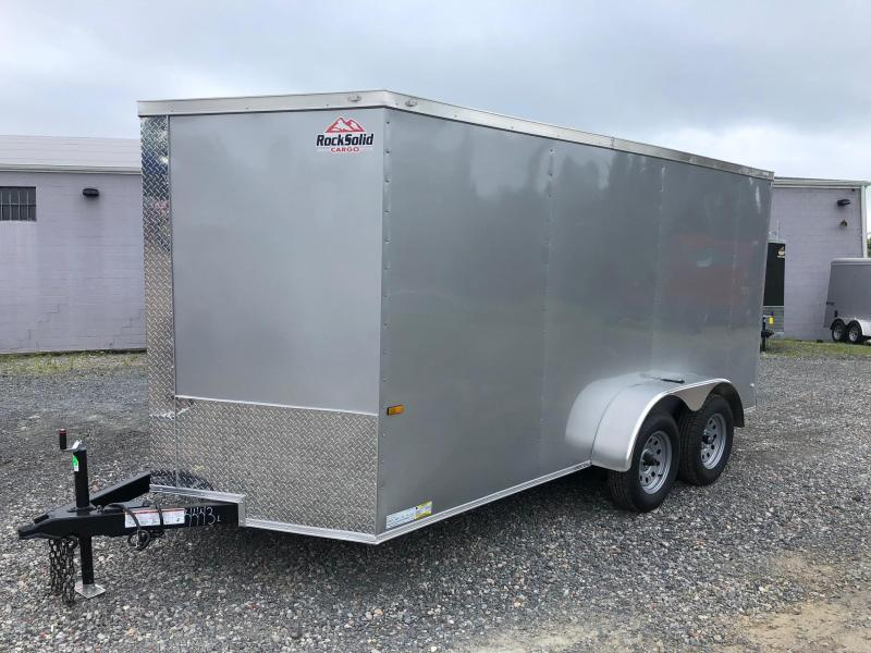 ROCK SOLID 2019 7' x 14 SILVER SEMI-SCREWLESS TANDEM AXLE V-NOSE ENCLOSED TRAILER