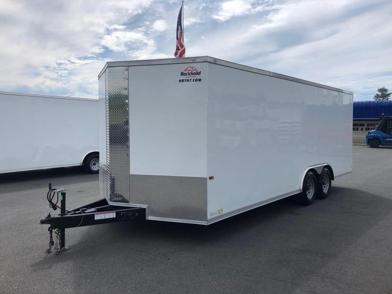 ROCK SOLID 2020 8.5' x 20' TANDEM AXLE WHITE SEMI-SCREWLESS V-NOSE CARGO TRAILER WITH TRIPLE TUBE TONGUE EXTENDED CAR HAULER