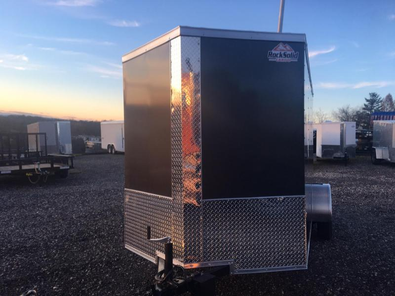 ROCK SOLID 2018 6' x 12' CHARCOAL GRAY SINGLE AXLE V-NOSE ENCLOSED TRAILER