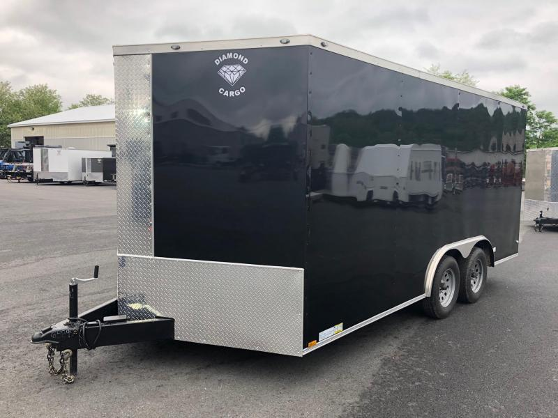 DIAMOND CARGO 2018 8.5' x 16'  BLACK SEMI-SCREWLESS TANDEM AXLE V-NOSE CARGO TRAILER